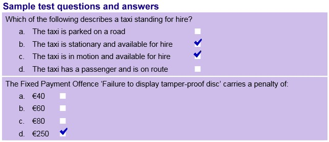 sample taxi test questions and answers