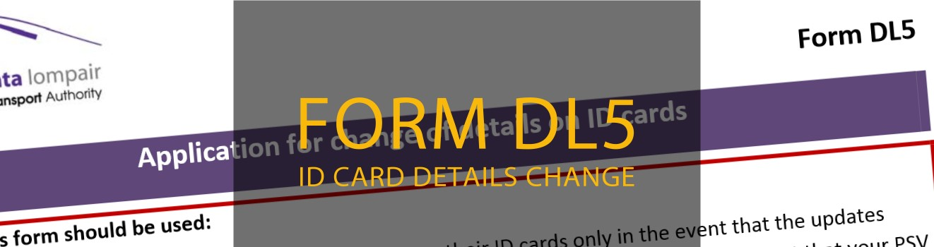 form dl5 for taxi driver ID details change