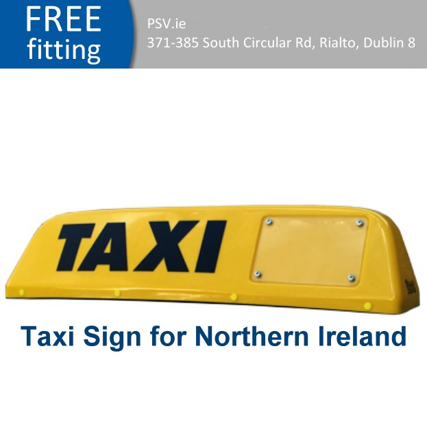 taxi roof sign for northern Ireland
