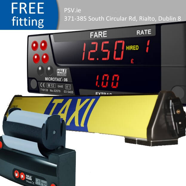 hale mcrotax 06 taxi meter receipt printer and roofsign package