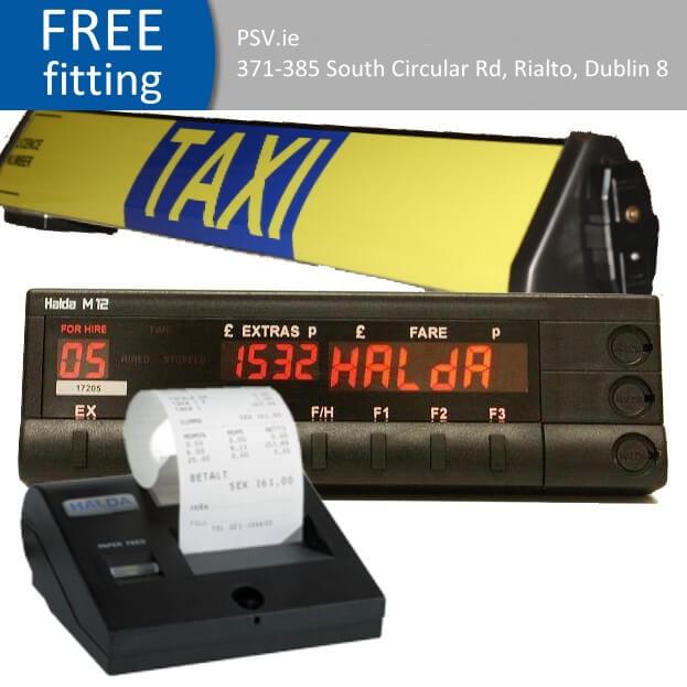 Halda taxi meter printer roof sign package